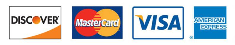 We accept Visa, AMEX, Discover, and Master Card